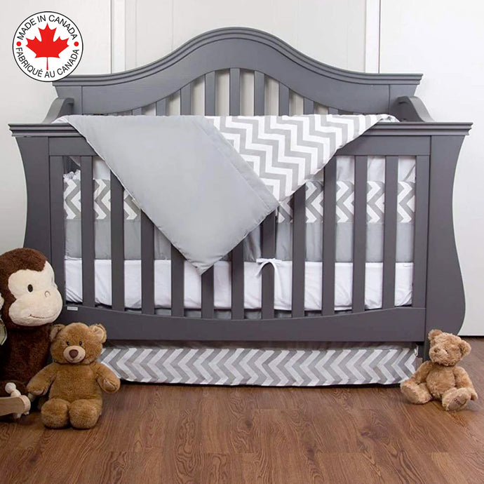 7 PIECE ZIGZAG BEDDING FOR GRAY AND WHITE BABY WITH CHEVRON PATTERN # 300