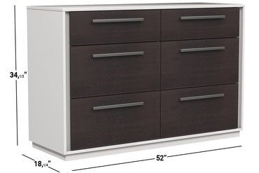 ANSON DOUBLE DESK 6 DRAWERS - BARN AND WHITE WOOD