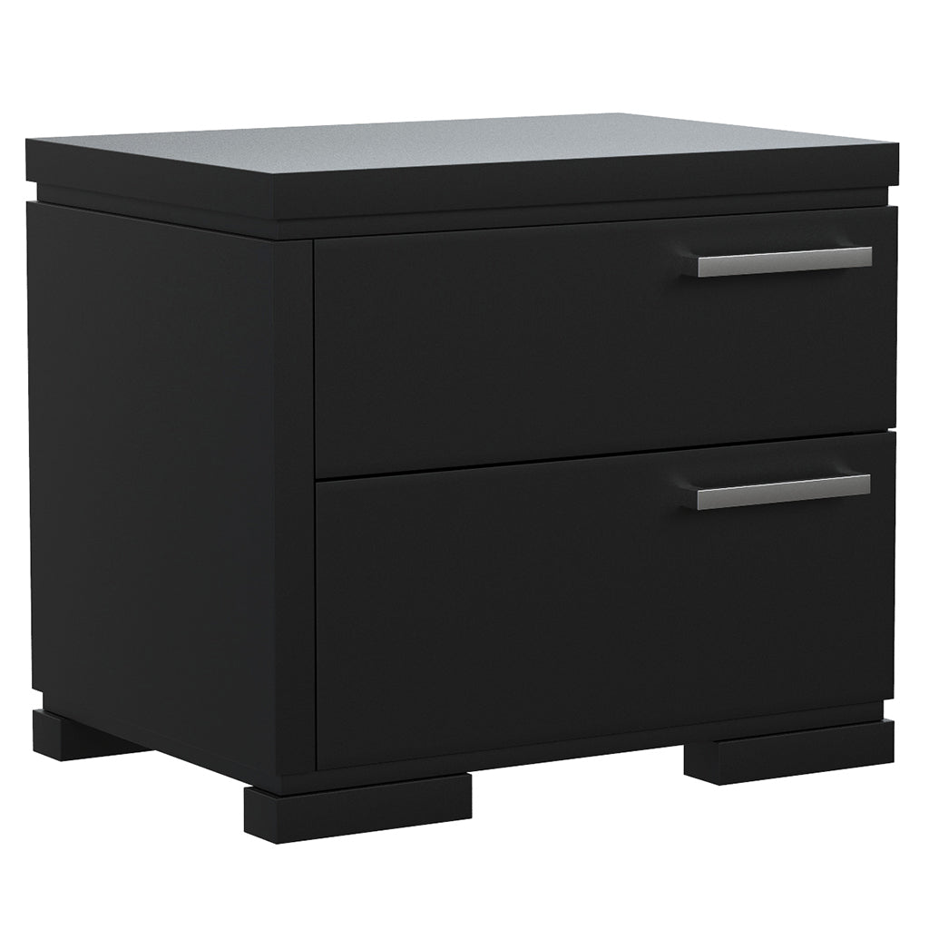 Bedside Table - 2 Drawers - Joe - Black