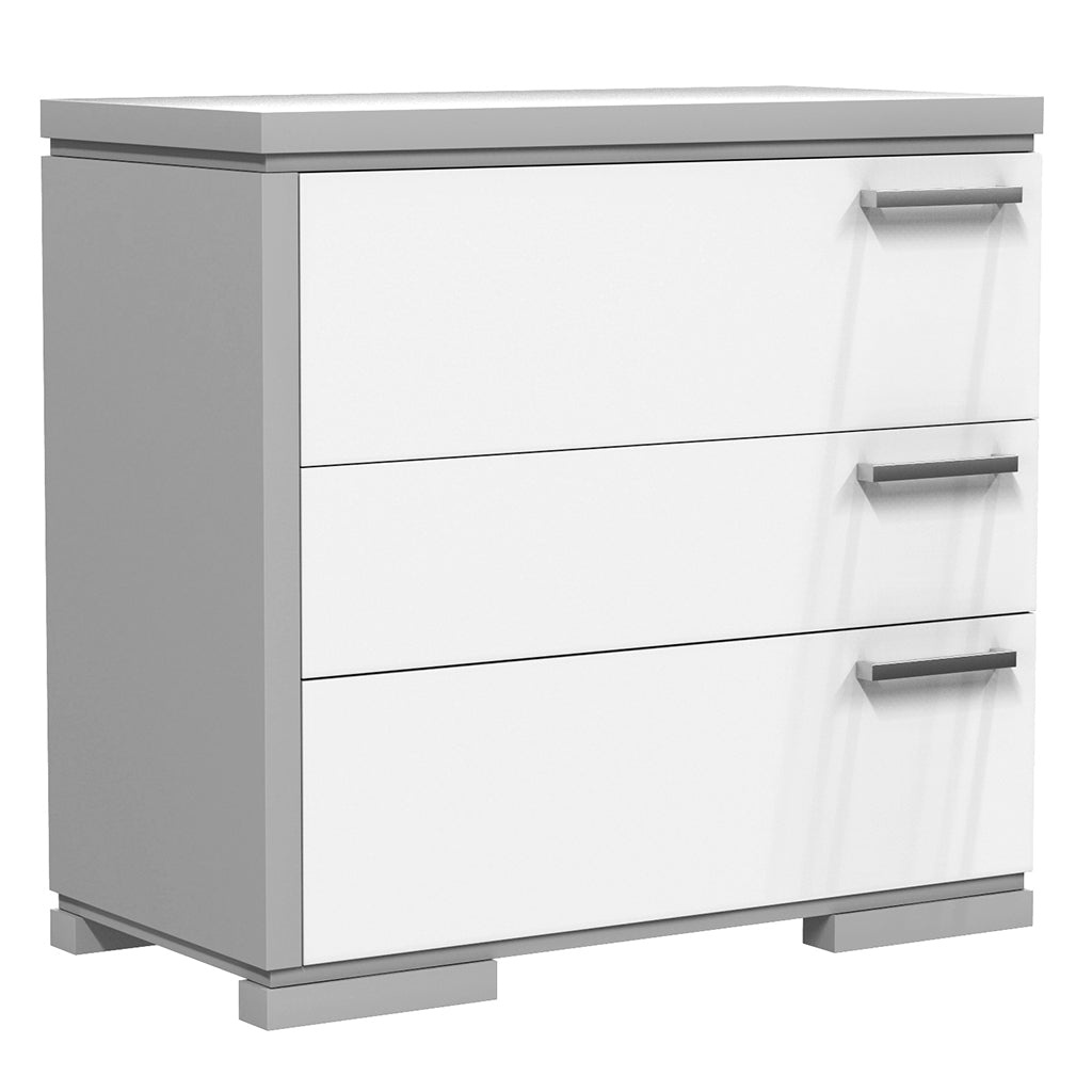 Desk - 3 Drawers - Joe - Pale Gray and White