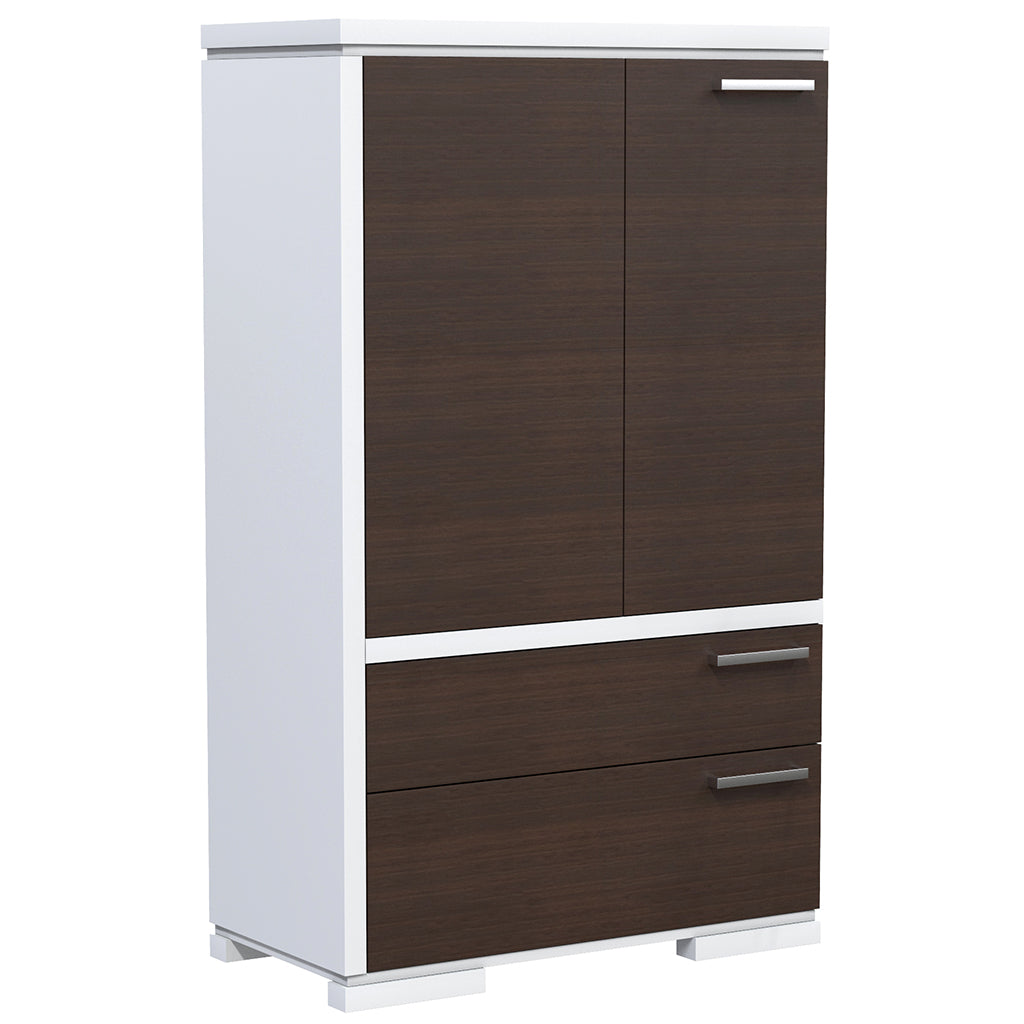 Wardrobe - 2 Drawers and 2 Doors - Joe - White and Walnut Wood