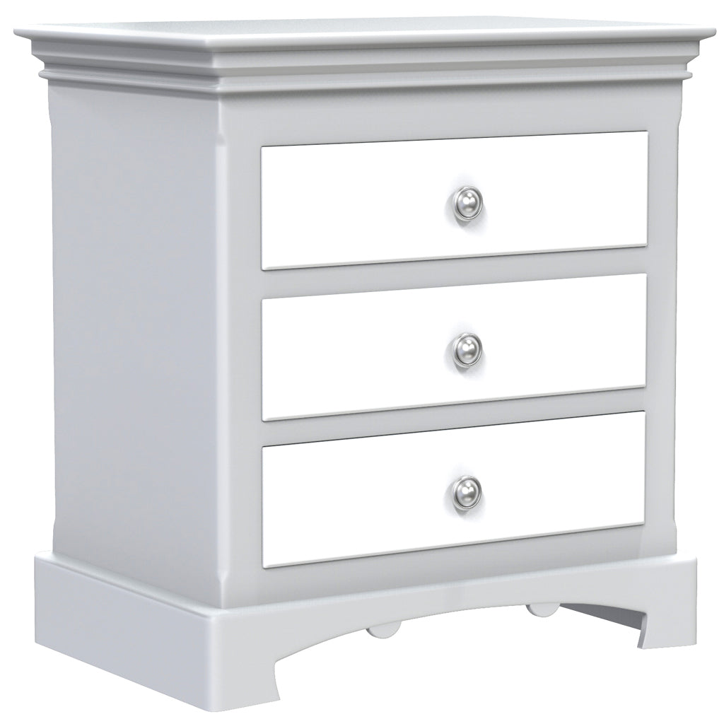 Bedside Table - 3 Drawers - Royal Collection - Adult - Pale Gray and White