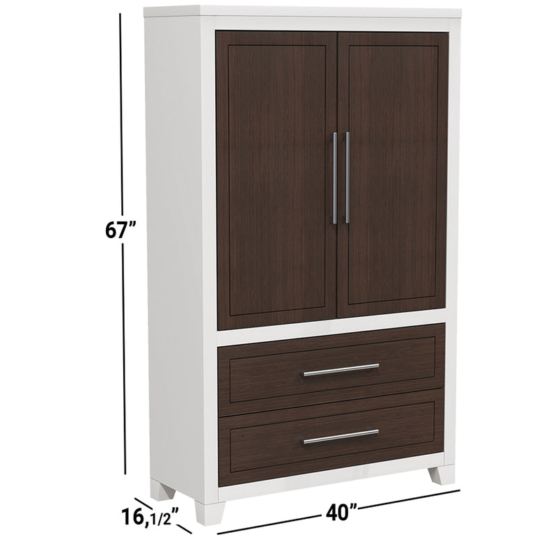 emma white walnut wardrobe