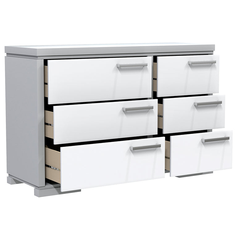 Double Desk - 6 Drawers - Joe - Pale Gray and White