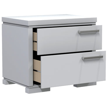 Bedside Table - 2 Drawers - Joe - Pale Gray