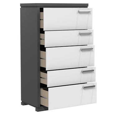 Desk - 5 Drawers - Joe - Dark Gray and White