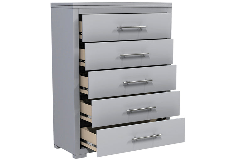 BARTON 5 DRAWER DESK - LIGHT GRAY
