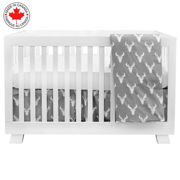 BEBELELO- 4 PIECE BEDDING FOR GRAY AND WHITE BABY WITH MOOSE PATTERN - # 460