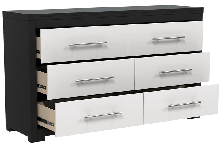 DOUBLE DESK WITH 6 DRAWERS BARTON - JAVA AND WHITE