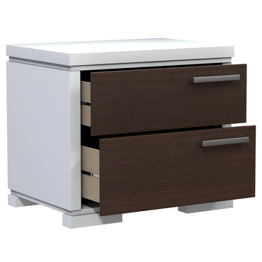 Bedside Table - 2 Drawers - Joe - White and Walnut Wood