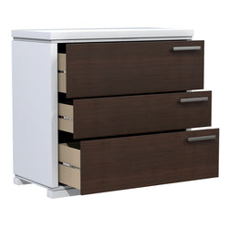 Desk - 3 Drawers - Joe - White and Walnut Wood