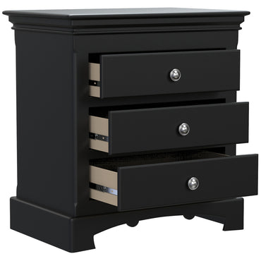 Bedside Table - 3 Drawers - Royal Collection - Adult - Black