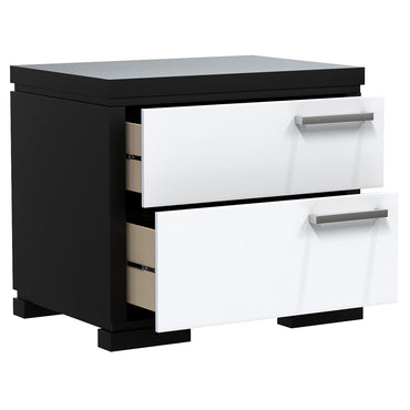 Bedside Table - 2 Drawers - Joe - Black and White