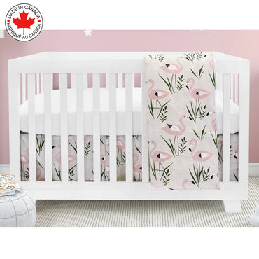 BEBELELO- 4 PIECE BEDDING FOR PINK AND WHITE BABY WITH A FLAMING PATTERN- # 620