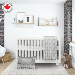 Bebelelo- Gray and white 7-piece baby bedding set with arrows pattern # 83