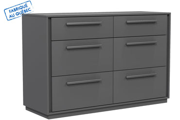 ANSON DOUBLE DESK 6 DRAWERS - DARK GRAY