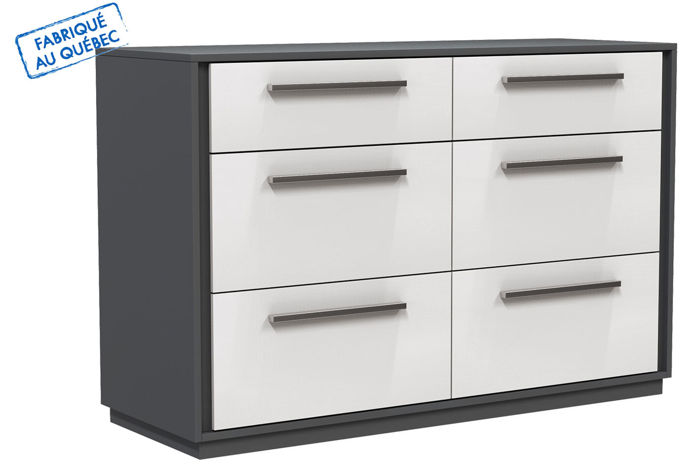 ANSON DOUBLE DESK 6 DRAWERS - DARK GRAY AND WHITE