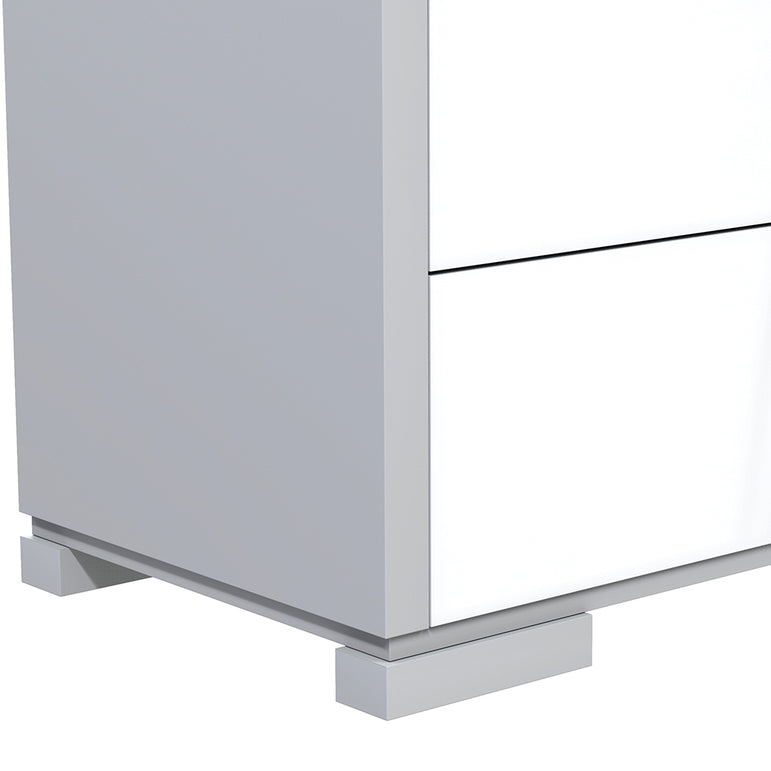 Bedside Table - 2 Drawers - Joe - Pale Gray and White
