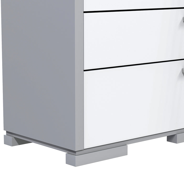 Desk - 5 Drawers - Joe - Pale Gray and White