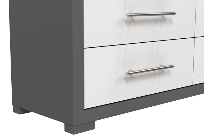 DOUBLE DESK 6 DRAWERS BARTON - DARK GRAY AND WHITE