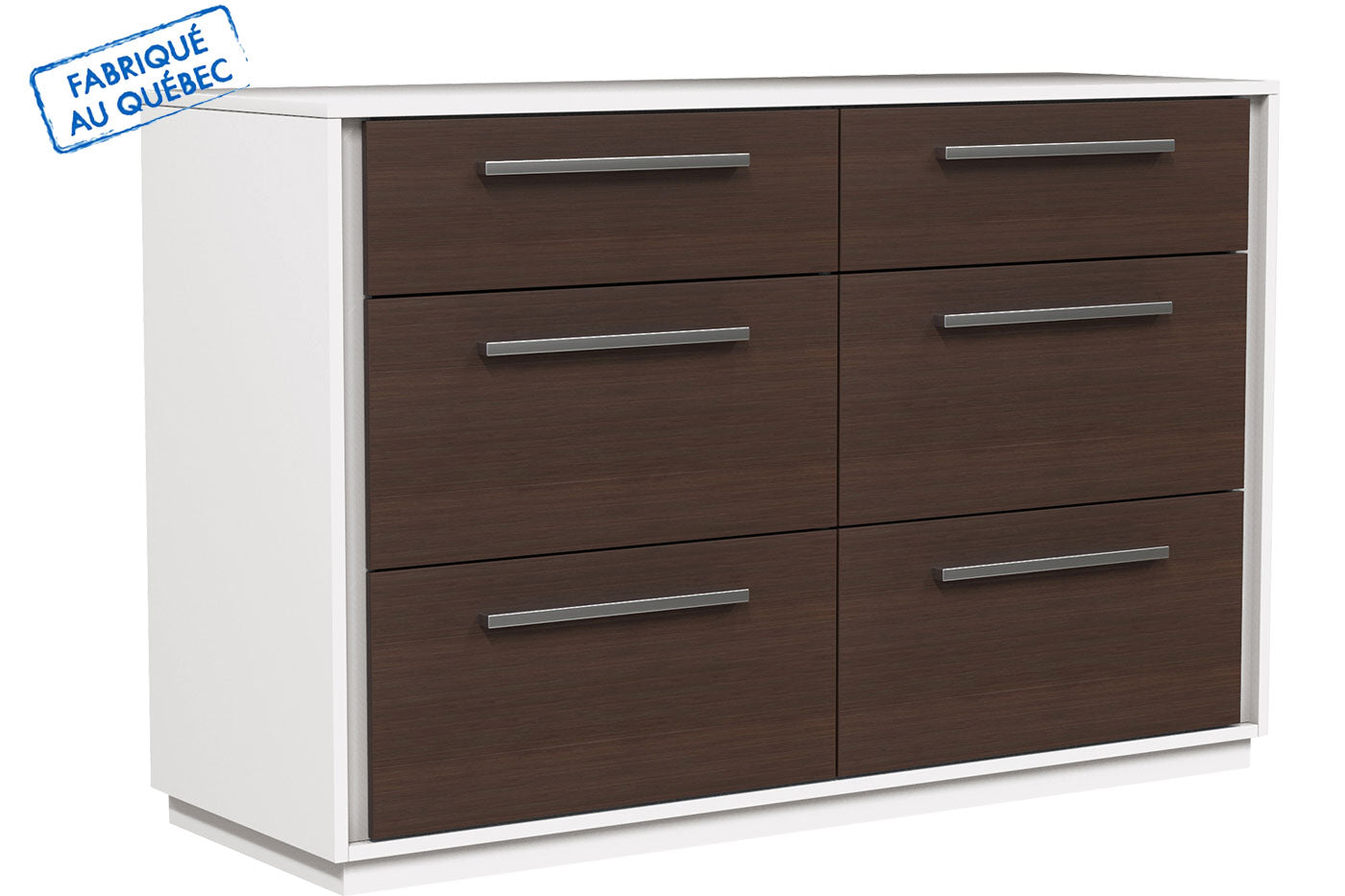 ANSON DOUBLE 6 DRAWER DESK - WALNUT AND WHITE WOOD