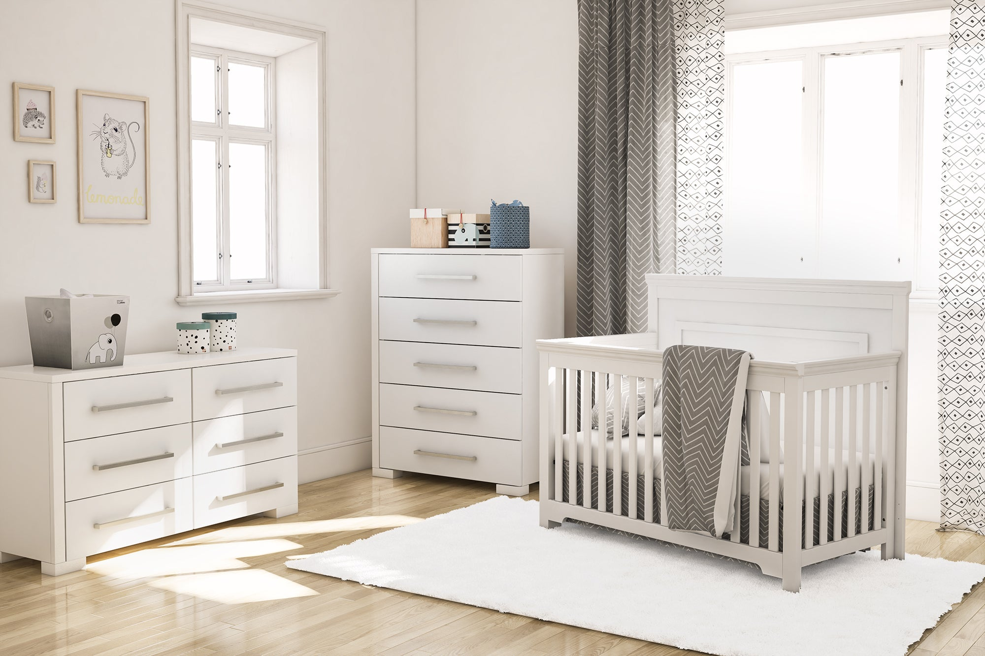 Baby bed - Double desk with 6 drawers - Desk with 5 drawers
