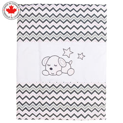 7 Pieces Baby Bedding - White Puppy and Zig-Zag - Aubree # 715