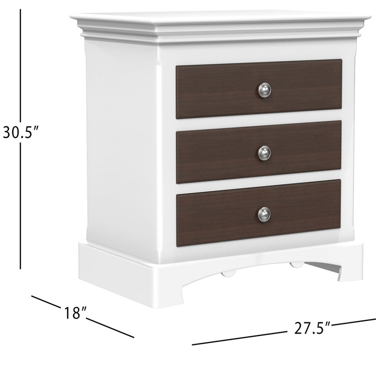 Bedside Table - 3 Drawers - Royal Collection - Adult - White and Walnut Wood