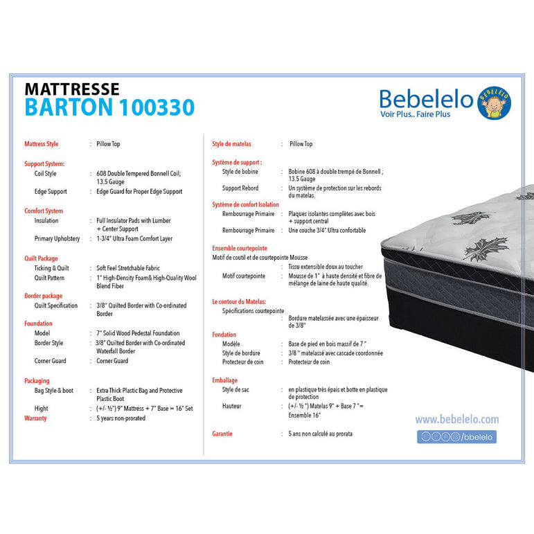 9 inch king size mattress - Barton Collection