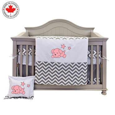 8 Pieces Baby Bedding - Zig-Zag and Pink Puppy - Everly # 713