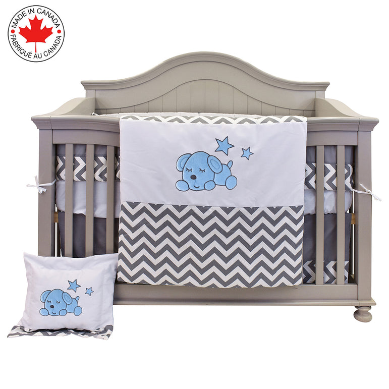 8-Piece Baby Bedding Set - Zig-Zag and Blue Puppy - Willow # 710