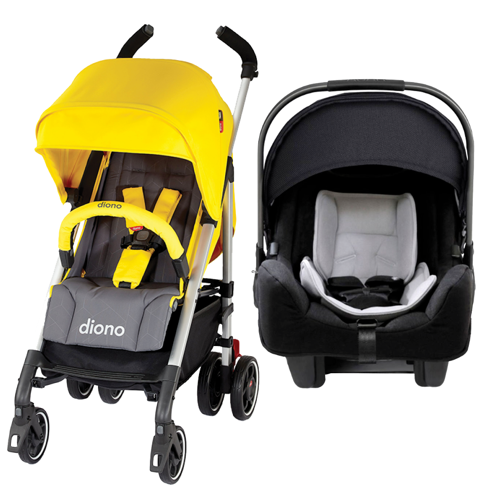 Travel System - Diono Sulfur Yellow Flexa Stroller + Nuna Pipa Caviar Car Seat