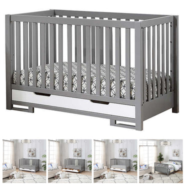 4 in 1 Convertible Crib - Angelica - Gray and White