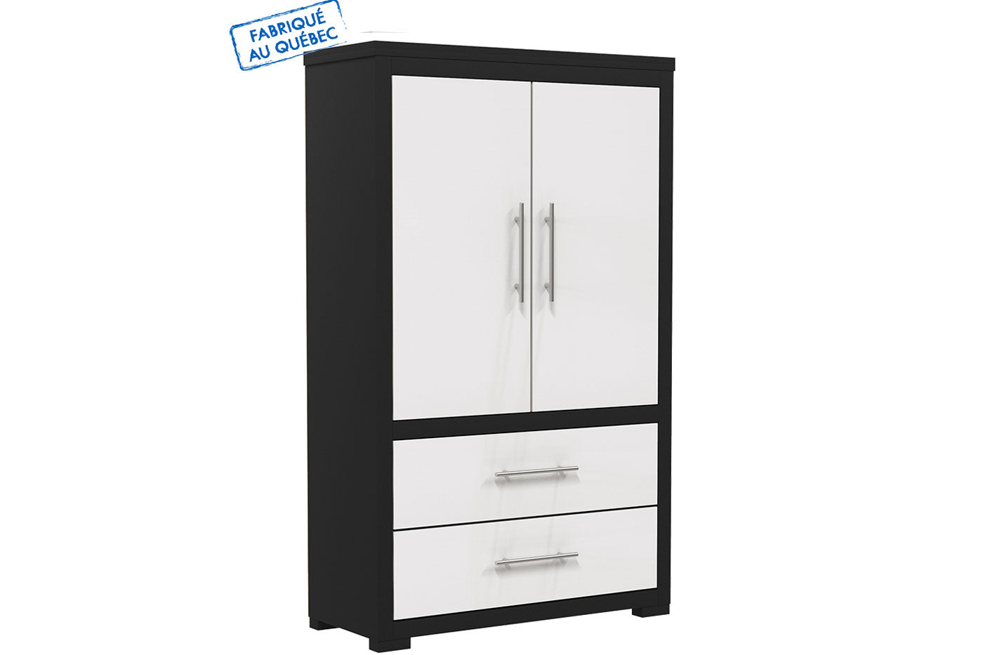 Barton wardrobe in wooden finish - Java and white
