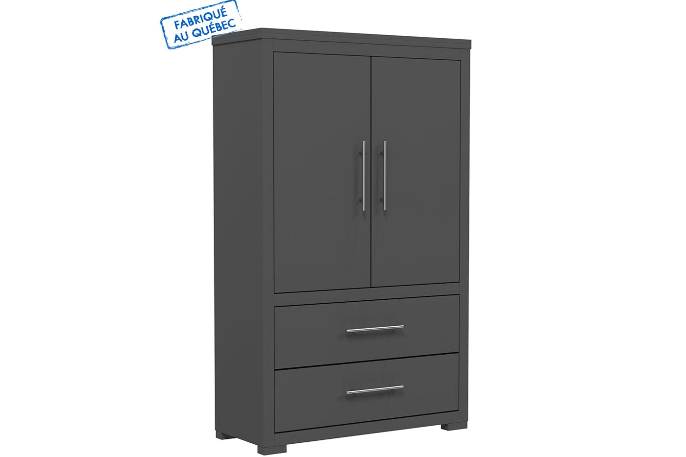 Barton wardrobe in wooden finish - Dark gray