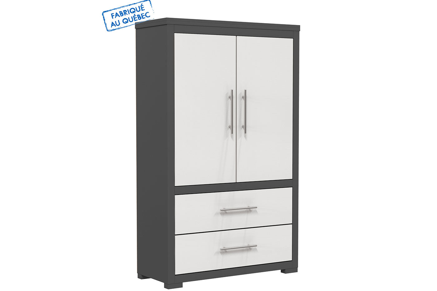 Barton wardrobe in wood finish - Dark gray and white