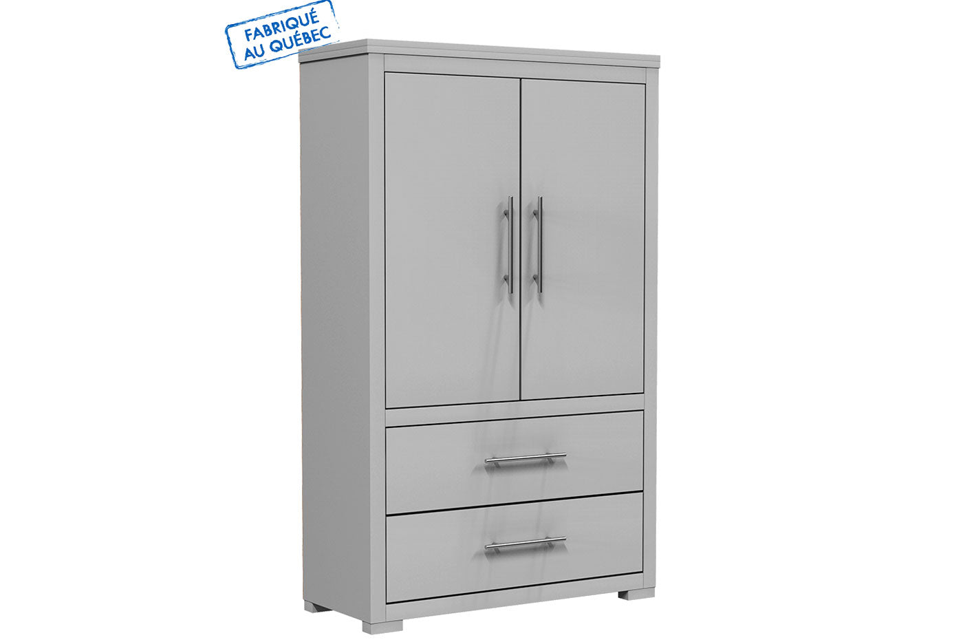 Barton wardrobe in wooden finish - Pale gray