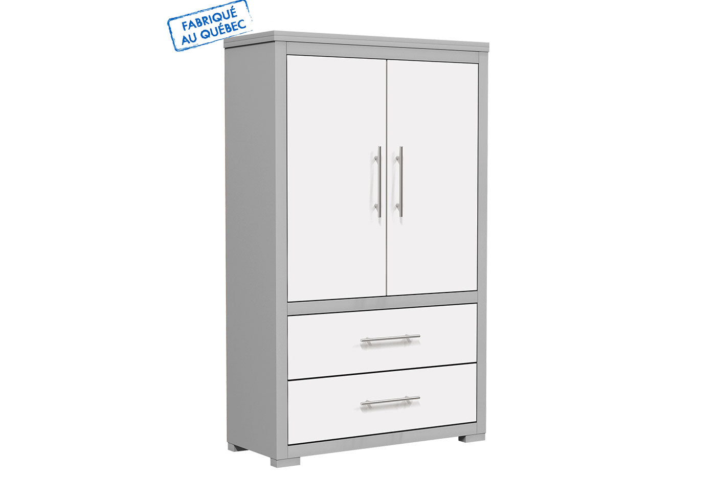 Barton wardrobe in wooden finish - Pale gray and white