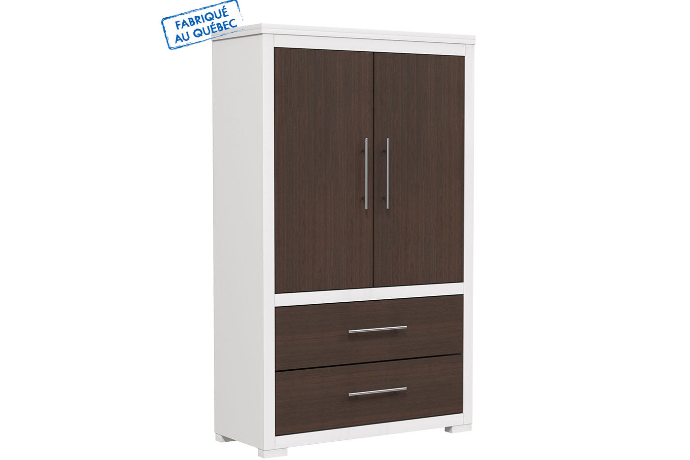 Barton wardrobe in wooden finish - Walnut and white wood