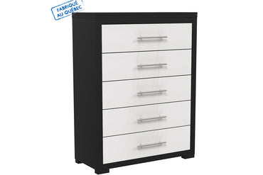 BARTON 5-DRAWER DESK - JAVA AND WHITE