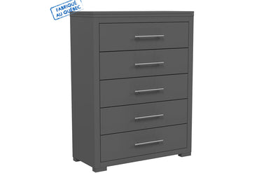 BARTON 5 DRAWER DESK - DARK GRAY