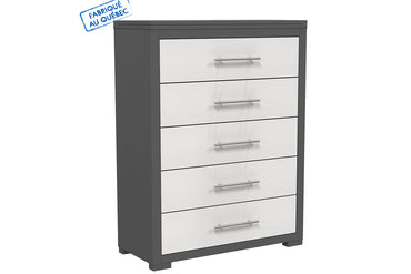 BARTON 5 DRAWER DESK - DARK GRAY AND WHITE