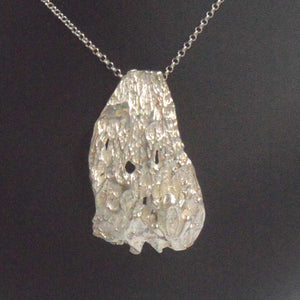SILVER PENDANT CAST FROM TREE BARK WITH FROG