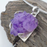 AMETHYST CLUSTER ON SQUARE SILVER PENDANT
