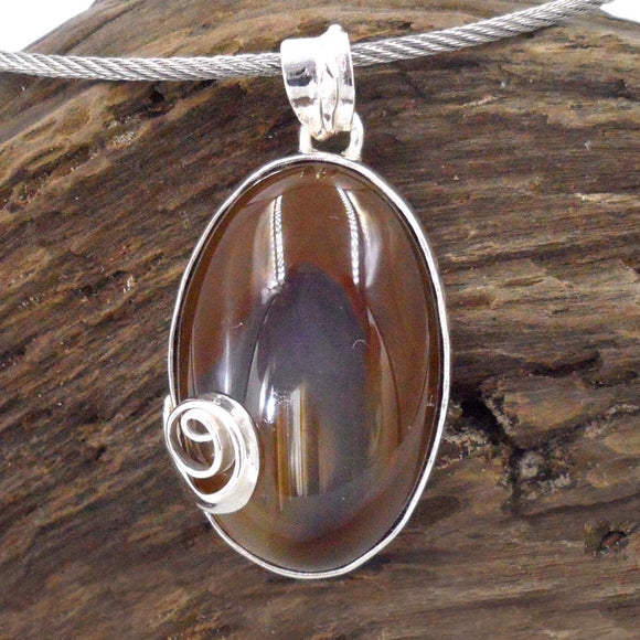 BROWN AGATE in Argentium Silver Pendant with Silver Swirl