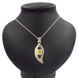 ARGENTIUM 935 SILVER PENDANT WITH 8ct OVAL FACETED PERIDOT