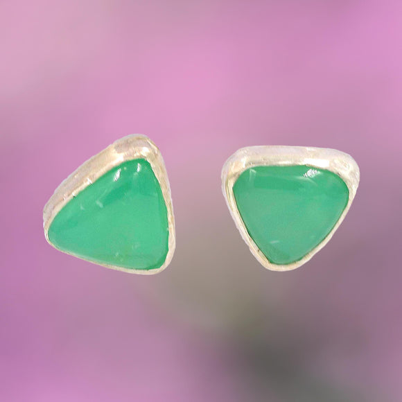 TRIANGULAR CHRYSOPRASE ARGENTIUM SILVER Earrings
