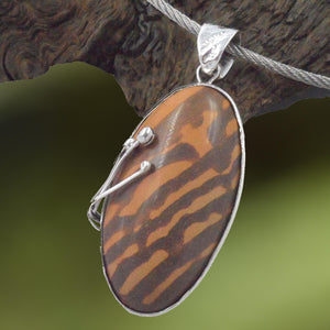 OVAL PRINT STONE in Argentium Silver Pendant