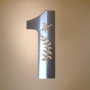 HOUSE NUMBER 1 - Fern Design with Butterfly