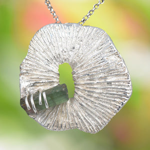 CORAL PENDANT Cast in Argentium Silver with Natural Green Tourmaline Crystal